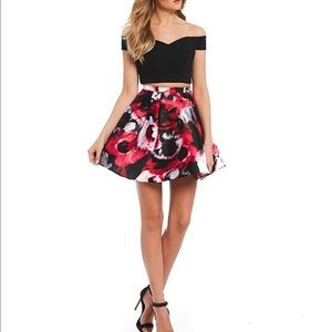 Dillard's two piece red and black floral dress